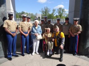 2013 04 20b-Honor Flight NorCal with Marines at WWII Memorial