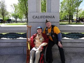 2013 04 20d-Honor Flight with Iwo Jima Marine George-Bud-Peabody