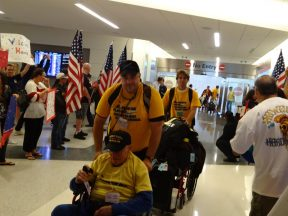 2013 04 21a-Honor Flight NorCal arriving back to SFO