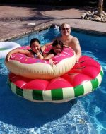 2018-Aug-17 - Papa with Jocelynn & Leah in the Pool