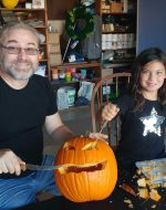 2018-Oct-28 - Michael & Jocelynn Carving Pumpkins