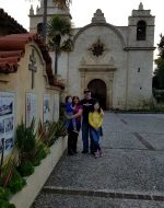 2020-Jan - At Carmel Mission, CA with EJ, Mary & Jocelynn