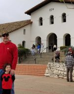 2020-Jan - At San Luis Obispo Mission, CA with Mary, Jocelynn & EJ