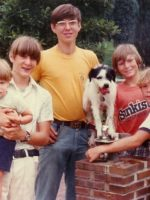 1979-07-Brothers Jeremy, Christian, Michael (yellow shirt), Michael's Dog , Guy, & Eric