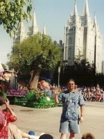 2003-07b-Michael  with the Main Mormon Temple in the background in Salt Lake City, Utah