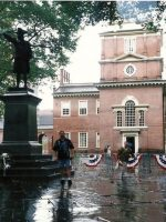2003-09a-Michael in front of Independence Hall in Philadelphia, PA