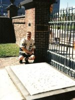 2003-09b-Michael at the grave site of Benjamin Franklin, Philadelphia, PA