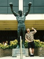 2003-09c-Michael and the Rocky statue in front of the Spectrum sports complex in Philadelphia, PA