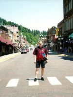 2004-06c-Michael on Main St of Deadwood, South Dakota