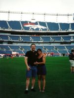 2004-06h-Michael & Mary on a tour of the Denver Broncos Stadium in Denver, Colorado