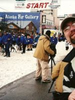 2005-03c-Michael at the Iditarod Race starting line in Anchorage, Alaska-Robert Sorlie won in 2005