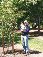 1999-05-Michael with baby Nickolas and the Ash Tree Michael planted for Nickolas Birth in Sunnyvale, CA