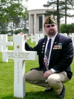 2010-06L-Michael at D-Day Omaha Beach Cemeter at MOH Peregory grave in Normandy, France