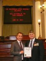 2011-06-Michael & Calif Assemblyman Bob Wiechowski giving Michael the Veteran of the Year Award