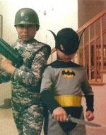2009-10-Michael's sons Nickolas (Marine) & Tyler (Batman)-Halloween