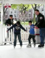 2010-02-Michael and his sons Nickolas and Tyler ice skating in downtown Hayward, CA