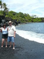 2011-04c-Michael & Mary on the black sand beach during our Hawaii Cruise