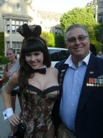 2011-08c-Michael at the Playboy Mansion with Playmate of the Year-Claire