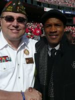 2011-11h-Michael with actor Nate Parker-49ers vs Giants Game