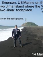 2012-03a-Michael on Iwo Jima Landing Beach-Mt. Suribachi in background