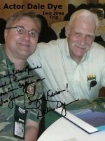 2012-03a-Michael with Marine & Actor Dale Dye-Iwo Jima Trip