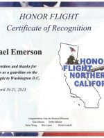 2013 04 19a-Honor Flight NorCal Certificate