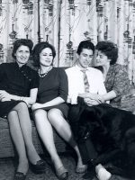 1962-10-Michael's grandmother, aunt Evelyn, father Jacques, mother Anne and family dog Riff
