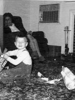 1965c-Michael with paternal grandmother during Christmas at Dean Road house in Wheaton, Maryland