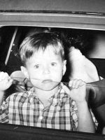 1966-06a-Michael in the car with baby brother Christian