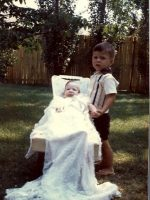 1966-06b-Michael with baby brother Christian in backyard