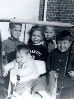 1966-10-Michael (far right) with friends and baby brother Christian