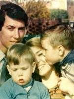 1969-09-Michael with Father Jacques, brother Christian, and mother Anne