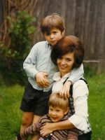 1970-06c-Michael, Mom & Christian in the backyard at the house on Dean Rd, Wheaton, Md.