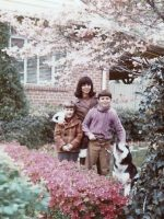 1972-09-Christian, Mom, Michael and our dog in front of our house on Dean Rd, Wheaton, Md.