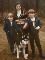 1972-10-Christian, Mom, Michael and our dog.