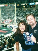 2002-08-Michael & Lei at Arena Bowl 16 game- San Jose Sabercats won