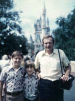 1974-07a-Michael, Christian & Step-Father Lewis at Disney World, Florida