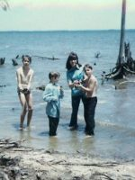 1974-08-Friend Philip Stoddard, Christian, Mom & Michael at the beach in South Carolina