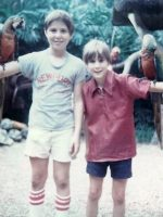 1975-07-Michael & Christian playing with Parrots