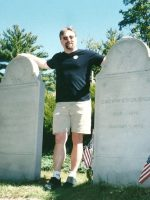 2002-09e-Michael at the Gravesite of Pres. Calvin Coolidge in Plymouth Notch, Vermont