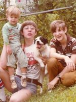 1978-Baby Jeremy, Michael, Michael's dog & Christian on the front lawn of the house on Weisman Rd, Wheaton, Md.